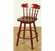 Sale Lot 10 Bar Stools Cherry Spindle Back Swivel 29H F-1140