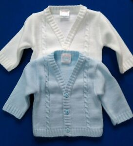 Baby Boys Cable Cardigan Traditional Spanish Knitted Blue White 3 6 Months NEW