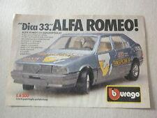 advertising pubblicita' ALFA ROMEO 33 quadrifoglio BURAGO scala 1:24 -- 1986