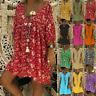Women Loose Short Sleeve V Neck Long T Shirt Top Holiday Beach Mini Dress Comfy