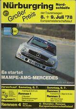 Nurburgring Touring Cars Tourenwagen 8 9 July juli 1978 original race programme