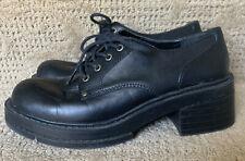 Vtg 90s Y2K Mia Black Platform Shoes Grunge Chunky Goth Tie Lace Up 10 M