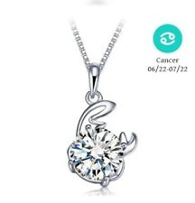 "925 Sterling Silver Zodiac Cancer CZ Pendant Necklace 16"" Chain Gift Necklace"