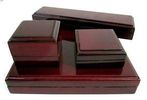Antique Style Luxury Wood Gloss NecklaceEarringRingBracelet Box-R/L Tiny defects