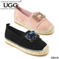 UGG OZWEAR LADIES GIANNA ESPADRILLE SUEDE GENUINE LEATHER CAUSUAL SHOES OB318