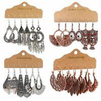 Boho Gypsy Geometric Tassel Retro Dangle Earrings Tribal Ethnic Women Jewelry