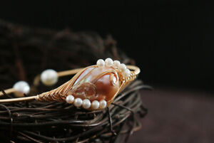 D13 Bangle Bracelet Wound Wire Gold Plated Freshwater Pearls Leaf Flower