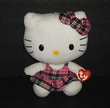 "2012 TY Beanie Buddies Collection 9"" Sanrio Hello Kitty Pink Plaid Jumper NWT"