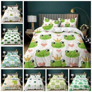 Cute Frog Quilt Duvet Cover Kids Bedding Set Pillowcase Single Double King Size