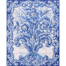 Portuguese Traditional Hand Painted Azulejos Tiles Panel Mural BLUE FLOWER VASE