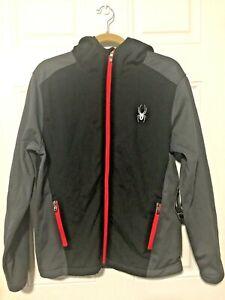 Spyder Hyrdroweb Size S Black Red Gray Jacket w/ Hood NWT $149 Retail