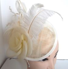 NEW Cream large net feather and hessian hatinator fascinator wedding races prom