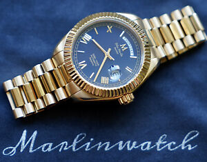 Marlinwatch Day Date Mens Gold Diver Watch Automatic Micro Brand 🇬🇧🐟