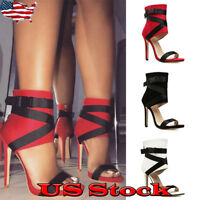 Womens Ladies Casual High Stiletto Heel Sandals Open Toe Ankle Boots Shoes Size