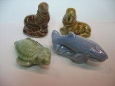 -4 Wade Figurines, Turtle, Walrus, Sealion, & Whale, Mint, Free Post