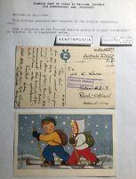 1944 Finnish Army At Purho Censored Feldpost Postcard Cover To Tallinn Estonia