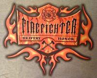 Firefighter GREY T-Shirt Fireman Fire Fighter Firemen Maltese Cross Flames 3X