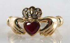 9K 9CT GOLD CLADDAGH RUBY 5mm x 5mm DIAMOND HEART ART DECO INS RING FREE RESIZE