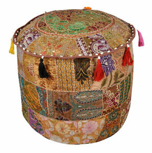 Indian Patchwork Vintage Ottoman Pouf ,Foot Stool, Chair, Moroccan Large Seating