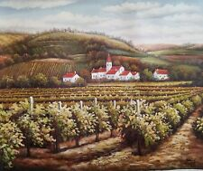 Signed Oil Painting on Canvas of a Countryside  Vineyard on the Hill landscape
