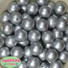 20mm Matte Silver Acrylic Faux Pearl Bubblegum Beads Chunky Gumball 20pc