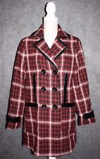 $198 NWT Express Womens Winter Coat Red Black Plaid Size Large