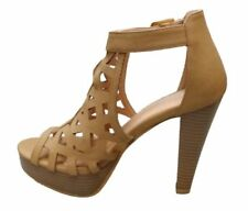 Top Moda Women's Bonica 1 Tan Cut Out Stacked Caged Style Heel Size 10