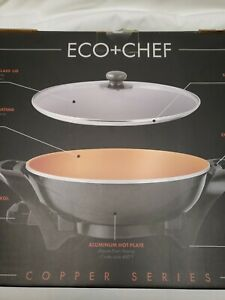 "Eco + Chef Copper Series 13"" Nonstick Electric Wok NEW in Box"