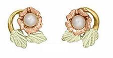 Ladies Dakota Black Hills Gold Rose with Pearl Stud Earrings KE 265 PL