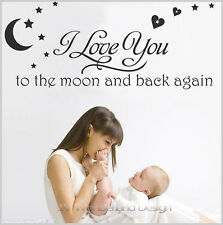 """Vinyl Decal """"I love you to the moon"""" Transfer Sheet Wall Sticker Decor Quote AU"""