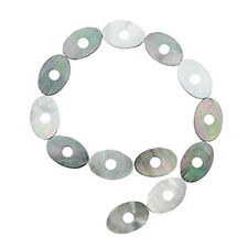 BLACK MOTHER OF PEARL 20X30MM OVAL DONUT BEADS   A+ MOP