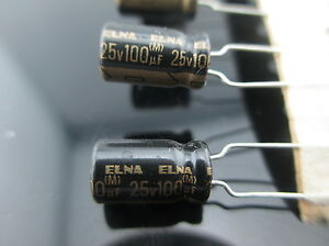 JAPAN 10PCS Elna RFO 100uf 25V 100mfd highest audio Capacitor New diy HiFi