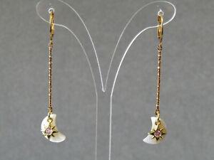Moon Mother of Pearl, Pink Cubic Zirconia Stars Huggie Hoop Gold Plated Earrings
