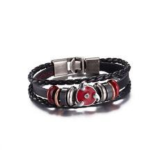 T::A Damen Armband Kunstleder Kordel schwarz Ringe Metall rot silber FA001-A