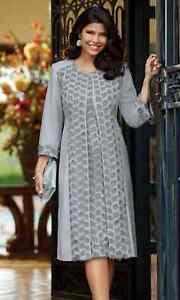 1X Midnight Velvet Formal Gray Church Wedding Floral 3-D Textured Jacket Dress