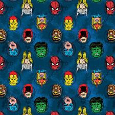 "Marvel Avengers Blue Comics Camelot Quilt Fabric 21"" remnant #4C"