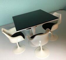 "OOAK 5 3/4"" Black & White Table for FR, Tonner, Barbie, BJD,Diorama"