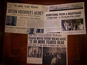 Horror Movie Newspaper Prop 3-Pk, Halloween, Friday 13th, Nightmare Elm Street