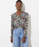 NWT Ann Taylor LOFT Smocked Floral V Neck Ruffle Blouse Top Work Casual Black XS