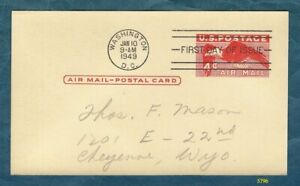 First Day of Issue - 1949 Air Mail Postal Card (Scott #UXC1)
