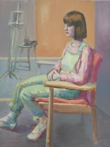 20thC Oil Painting on board, Portrait of a Girl in Dungarees in an Art Studio