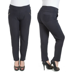 Womens Elegant Straight Leg Trousers Pockets Plus Size High Waist Pants KZY-W008