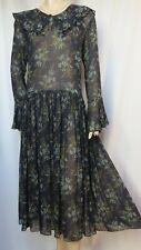 Laura Ashley Seidenkleid 38 Blumen Hochzeit blau grün Rüschen Seide vintage