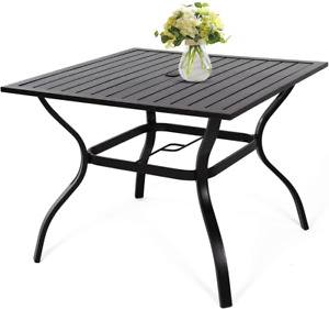 """Outdoor Dining Table, Patio Metal Steel Frame Square Table with 1.57""""Umbrella Ho"""