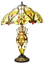 New 68cm Cream Red Double Tiffany Lamp Multi Bulbs Electric Table Bedside Light