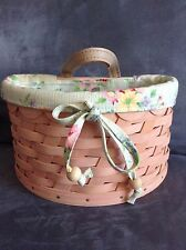 Longaberger 2006 Small Pink Scalloped Basket With Liner -Rare