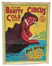 Vintage 1950s Big Otto Hippo Sideshow Cole Brothers Circus Litho Poster
