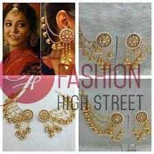 INDIAN Bollywood Bahubaali Gold Pearl & Stone Earrings &Chain, Eardrops, Jhumka