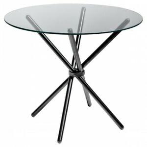 Criss - Cross Glass Dining Table - Black - 90cm diameter - seat upto 4