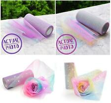 10 Yards Tulle Roll Rainbow Unicorn Organza Bow Ribbon Tutu Fabric Iridescent